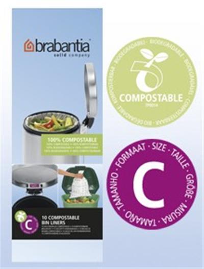 Sac BRABANTIA poubelle 12L biodégradable rouleau de 10 sacs - Ref C compostable