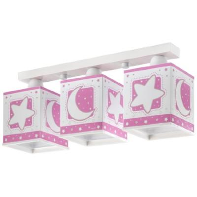 DALBER - 63233S - RAMPE 3 LAMPES CARRÉES - LUNEETOILES - ROSE