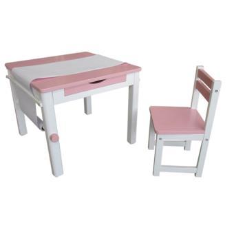 Ensemble table et 1 chaise pour enfant en bois coloris rose PEGANE
