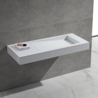 Lavabo Suspendu Rectangulaire Blanc Mat, 120x50 cm ...