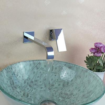 Robinet lavabo à fixation murale et finition en chrome