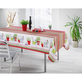 Nappe Anti Tache Rectangle 150x240 Cm Jardin Catalan Rouge Achat