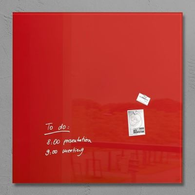 Sigel SI-GL202 Panneau magnétique en verre XL Artverum 1000x1000x18mm Rouge