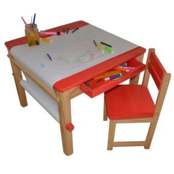 Ensemble Table Et 1 Chaise Pour Enfant En Bois Coloris Rouge