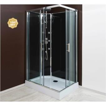 aqua cabine de douche r versible acc s d 39 angle porte coulissante verre transparent 110x80. Black Bedroom Furniture Sets. Home Design Ideas