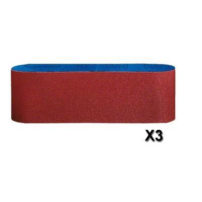 Bosch 2608606138 Set De 3 Bandes Abrasives 100 X 610 Mm, Grain 60 / 80 / 100