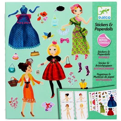 Djeco Jeux loisir créatif Stickers réutilisables poupées a habiller Enfant fille