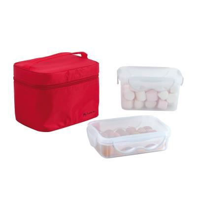 Lunch box - 2 boites hermétiques (1,3 L et 600 ml) + pochette de transport rouge