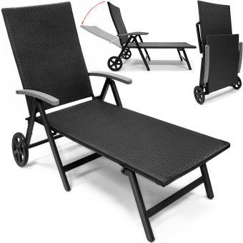 Transat Chaise Longue En Aluminium Sur 2 Roues