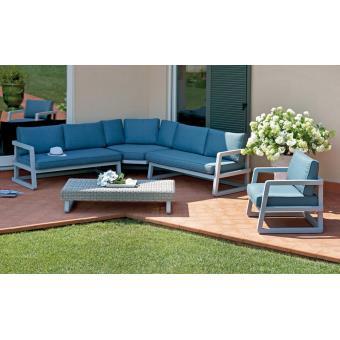 Salon de jardin en aluminium gris composé de 1 fauteuil + 1 ...