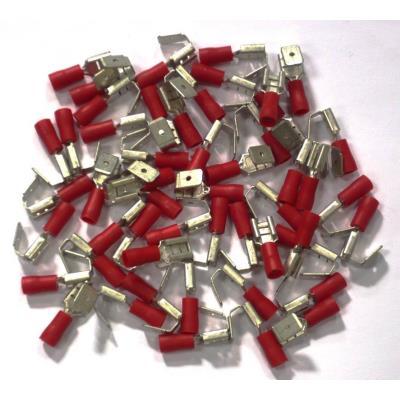 Cosses Electriques Doubles Rouges 6.3 Sachet De 50 Cosses