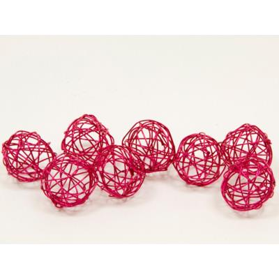 Lot de 12 boules de décoration en métal fushia
