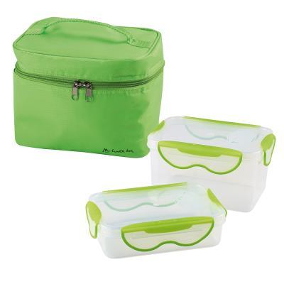 Lunch box - 2 boites hermétiques (1,3 L et 600 ml) + pochette de transport vert