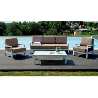 Salon de jardin composé de 2 fauteuils + 1 canapé 3 places + ...