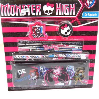 Set papeterie 'Monster High' noir rose (6 pièces)