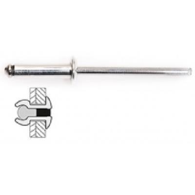 Techman - 50 rivets alu / alu à tête plate Ø 4,8 x 10 mm
