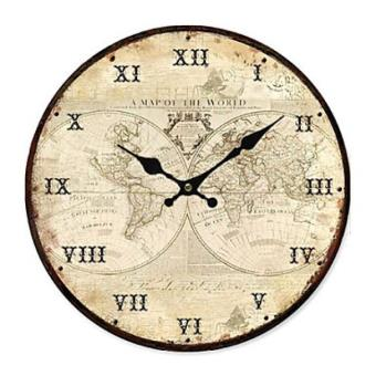 horloge murale de style rustique motif carte du monde en bois achat prix fnac. Black Bedroom Furniture Sets. Home Design Ideas