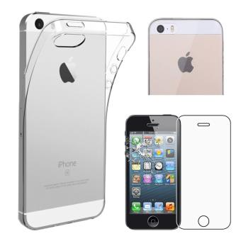 CABLING iPhone 5 5S SE coque tpu gel integral souple transparent vitre de protection verre trempe