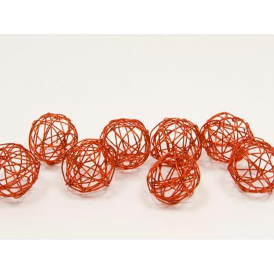 Lot de 12 boules de décoration en métal rouge