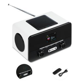 auna Connect 150 Radio internet 2.1 avec WiFi et lecteur multimédia USB (Spotify connect, tuner DAB+ et FM, 2 réveils, écran couleur, égaliseur)