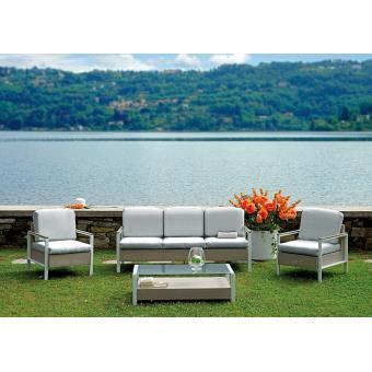 Salon de jardin composé de 2 fauteuils + 1 canapé 3 places taupe +1 ...
