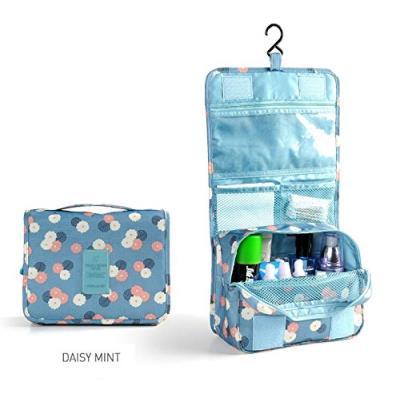 Grande Trousse de toilette pliable , Trousse maquillage, Trousse de voyage (Fleur / Bleu)