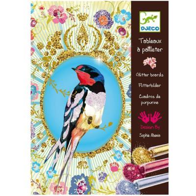 Kit de loisirs créatifs Djeco Tableaux à paillettes Oiseaux à pailletter enfants