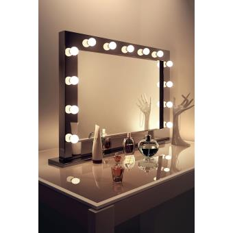 Miroir de maquillage hollywood ultra brillant noir avec for Miroir hollywood ikea