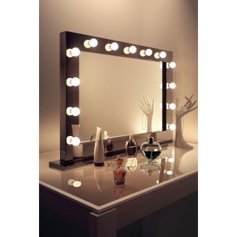 miroir de maquillage hollywood ultra brillant noir avec. Black Bedroom Furniture Sets. Home Design Ideas
