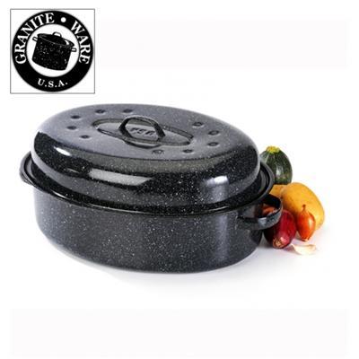 Cocotte acier émaillé, 38 cm, noir, roaster graniteware