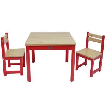 Ensemble Table Et 2 Chaises Pour Enfant En Bois Coloris Rouge