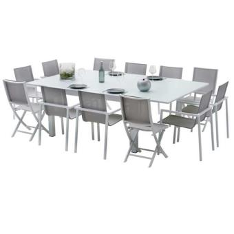 Ensemble table et chaises de jardin extensibles CARRE WHITESTAR 12 ...