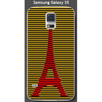 Coque Samsung Galaxy S5 design Paris Tour rouge rayée, fond jaune rayé noir