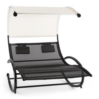 Blumfeldt Suncruise Chaise longue à bascule double transat + pare-soleil