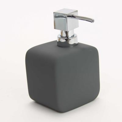 Distributeur de savon carré design 10x8x16 cm gris