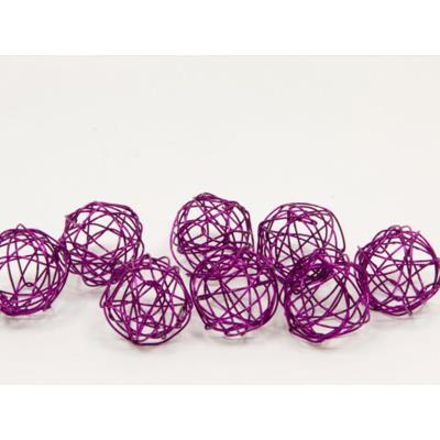 Lot de 12 boules de décoration en métal prune