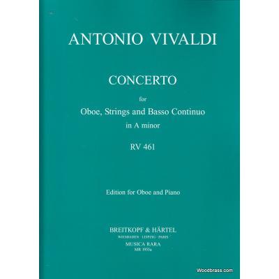 Partitions classique MUSICA RARA VIVALDI ANTONIO CONCERTO IN A RV 461 OBOE ORCHESTRA Hautbois