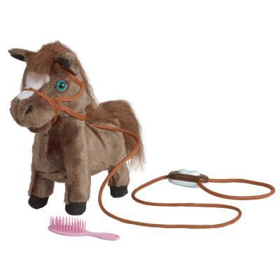 Peluche cheval interactive qui hennit et qui marche 25cm