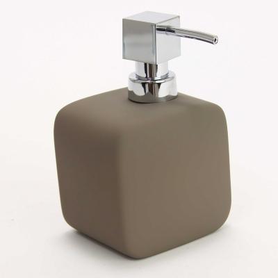 Distributeur de savon carré design 10x8x16 cm taupe