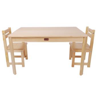 ensemble table rectangulaire et 2 chaises pour enfant en bois coloris naturel pegane table et. Black Bedroom Furniture Sets. Home Design Ideas