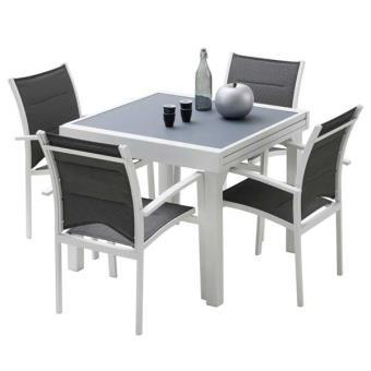 Ensemble table et chaises de jardin MODULO 4 PLACES BLANC/GRIS PERLE ...