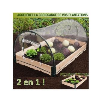 Mini serre de jardin avec châssis bois + housse amovible ...