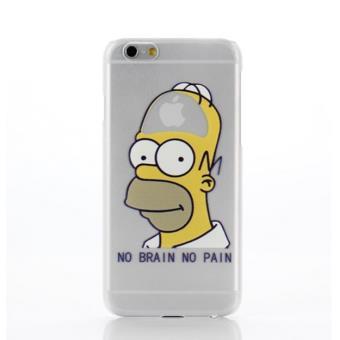 Coque Silicone IPHONE 6 6S Homer n 5 Les Simpson APPLE No Pain No Brain Cerveau Pomme Protection Gel Souple Houe Etui