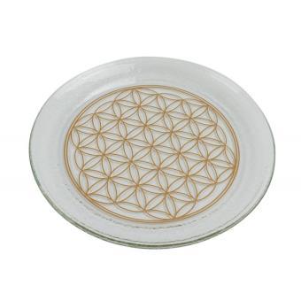 4a7ed10691f Assiette ronde avec Fleur de Vie dorée 20 cm - Achat   prix