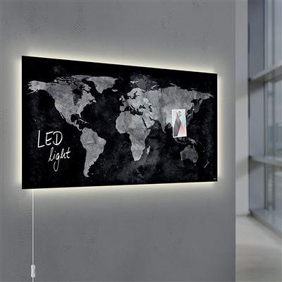 9d94cadd4d Sigel GL409 Tableau magnétique en verre Artverum LED 91 x 46 cm - carte du  monde, noir/gris, Tableau / ardoise, Top Prix   fnac