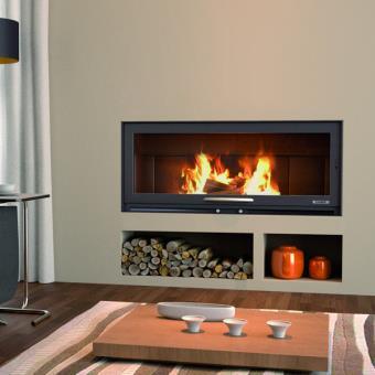 chemin e insert bv90 panoramique avec pieds et foyer acier et porte guillotine achat prix fnac. Black Bedroom Furniture Sets. Home Design Ideas
