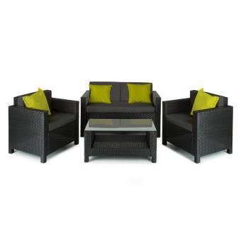 Blumfeldt Verona Mobilier de jardin 4 pièces Canapé, Fauteuils, Table,  rotin -noir/gris/vert