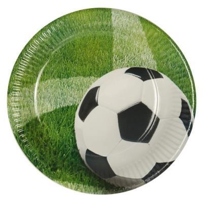 10 assiettes rondes en papier - ø 23 cm - motif football - gazon vaisselle jetable 81637
