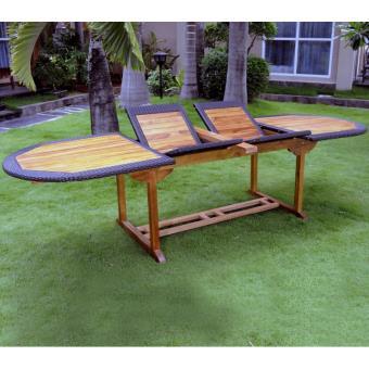 table de jardin en teck et résine grande taille 200-250-300 x 100 ...