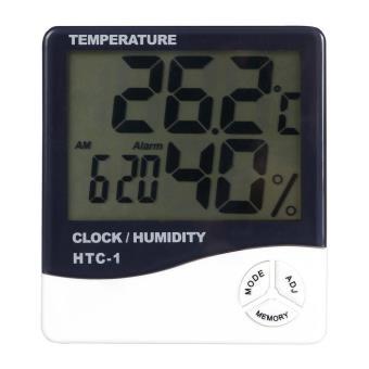 Thermomètre hygromètre numérique avec horloge Ecran LCD